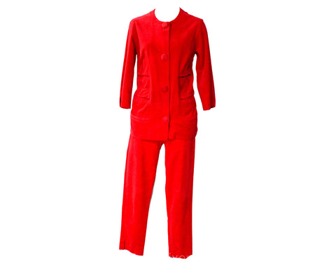 Size 8 1950s Pant Suit - Red Velveteen Tunic & Capri Cropped Pants - Audrey Style 50s 60s Cotton Outfit - Made in Milan Italy - Waist 26.5