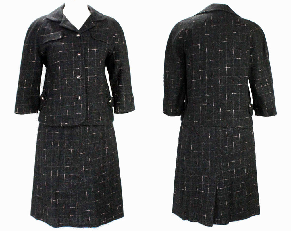 Size 10 1950s Suit - Charcoal Black & Pink Fleck Tweed 50s Jacket Skirt with Two Tone Buttons - Medium Mid Century Office Wear - Waist 27.5
