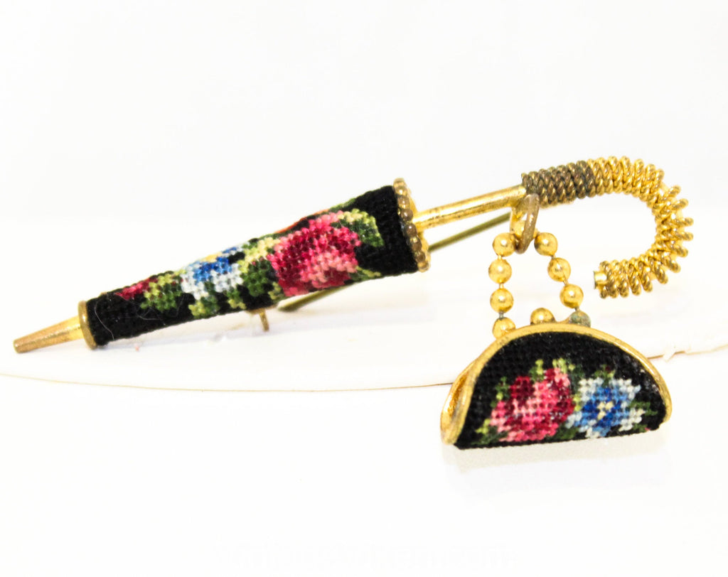 1950s Parasol Brooch - British Style Nanny's Umbrella and Carpet Bag Miniature - Micro Needlepoint Roses & Gold Hue Metal - Unique 50s Pin