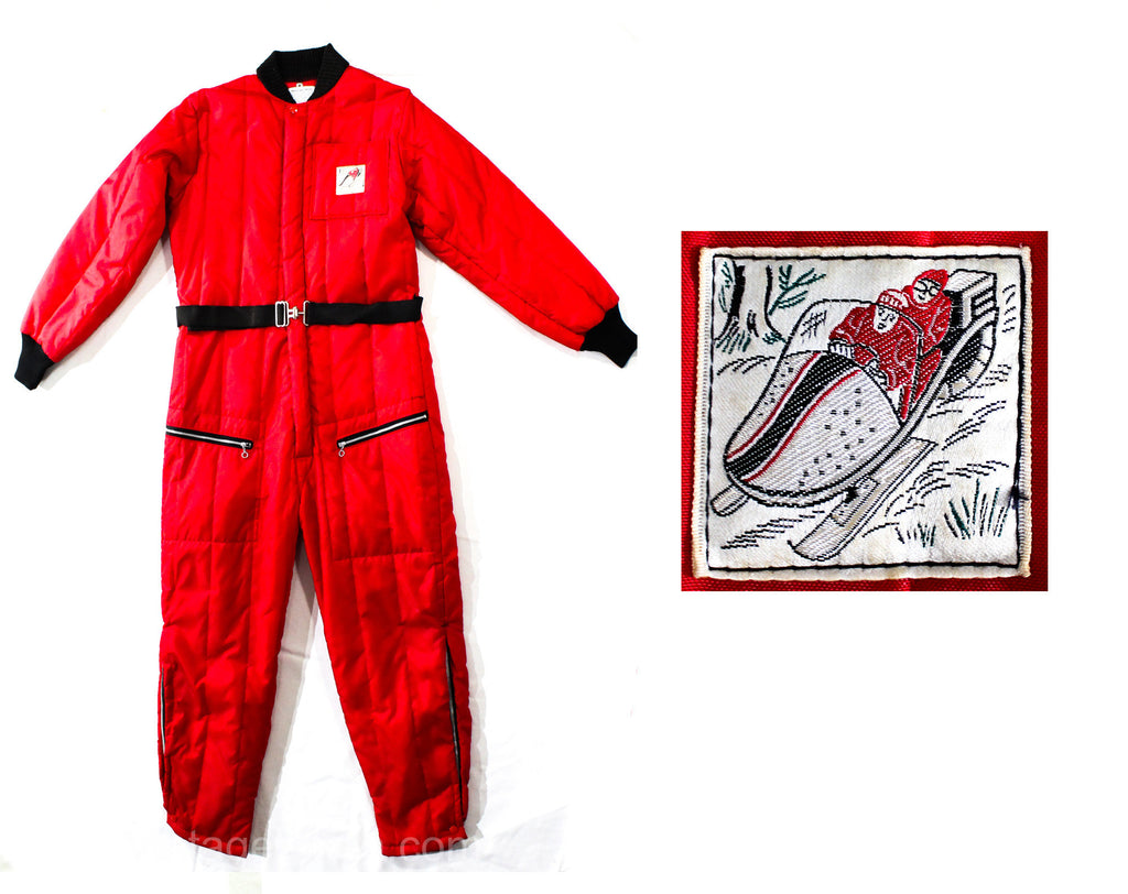 Size 10 1950s Skiing Outfit - Authentic 50s Red Quilted Nylon Sportswear - 1 Piece Ski Winter Sports Jumper - Snow Mobile Logo - Waist 34 35