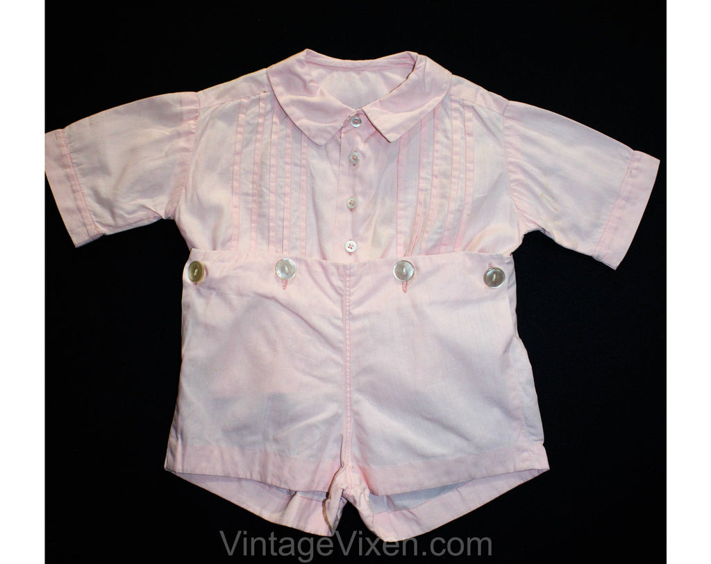 Charming 1940s Baby Girl's Pink Cotton Romper - Size 6 Months Infants Children's 40s Two Piece Shirt & Shorts Play Set - Adorable Buttons