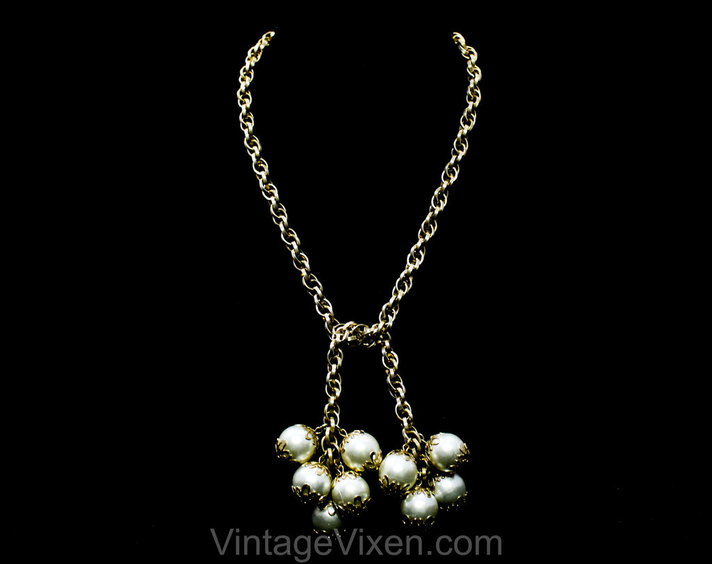 Baroque Style Lariat Necklace - Bold White Faux Pearls & Gold Hue Metal - Cute Bauble Tassels with Filigree Details - Antique Inspired 1960s