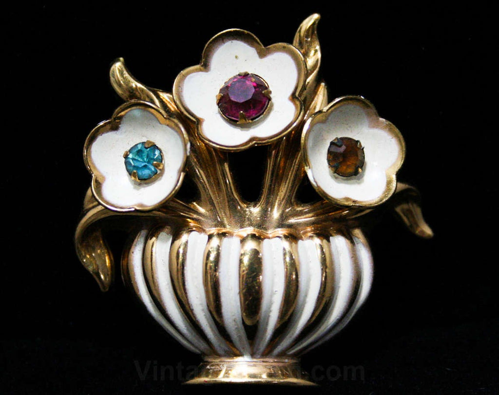 1940s Potted Plant Brooch - Late 40s Early 50s Deco Flower Arrangement Pin - Multi Color Rhinestones, White Enamel, & Goldtone Metal