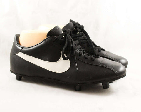 Size 7 Men's Nike Football Cleats - 1980s Athletic Shoes - Black Mens Retro Sports Sneakers - Authentic Nike - NOS 80s Deadstock