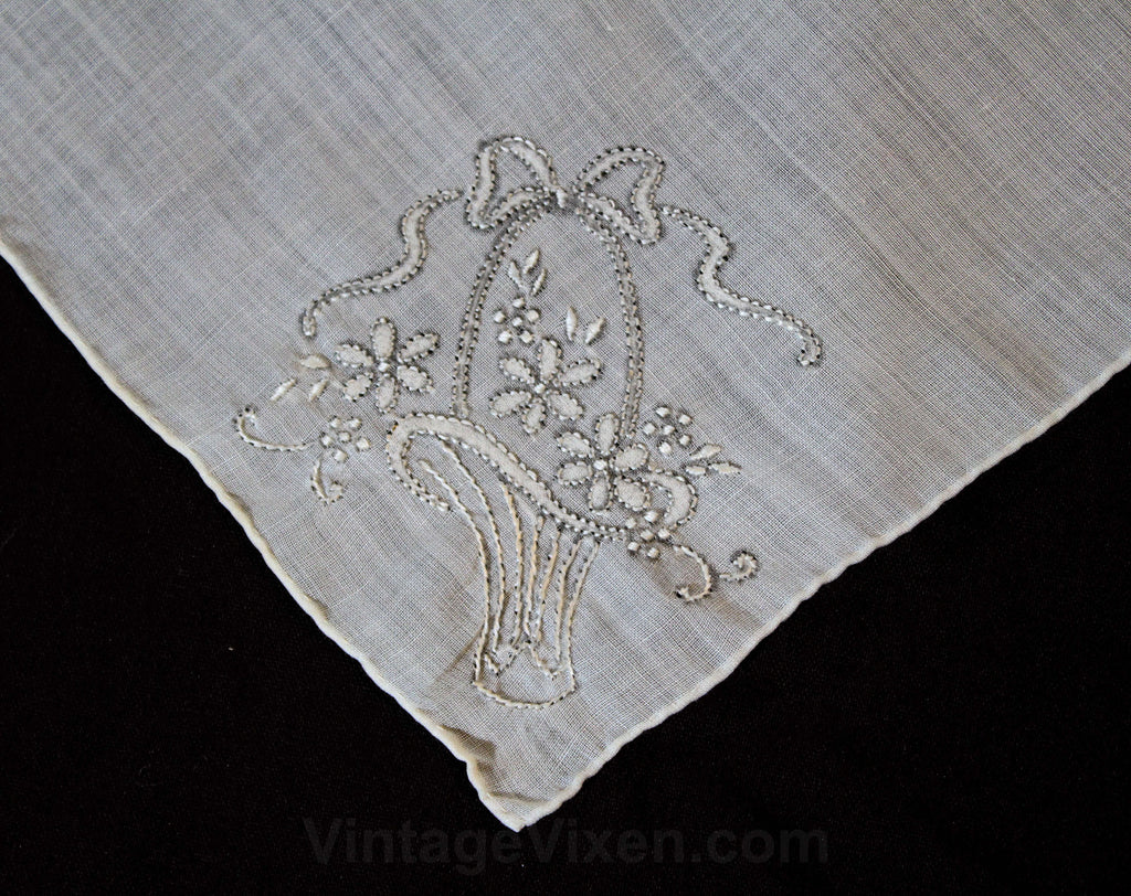 Embroidered 40s Handkerchief - Sheer Fine White Cotton with Bride's Basket Embroidery - Pretty 1940s 50s Hope Chest Linen - 12 Inches Square