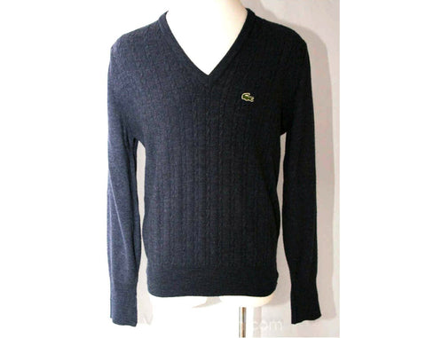 Vintage Izod Lacoste Men's Charcoal Sweater - Size Large Mens Dark Gray V Neck Pullover - Preppy 1960s Alligator Crocodile Logo - 38264-1