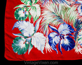 1940s Tropical Floral Rayon Scarf - 40s Red Blue Green Iris Flowers & Palm Leaves - Exuberant Pacific WWII USO Style Swing Era Head Wrap