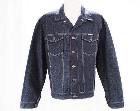 XL Men's 1980s Denim Jacket - 80s Dark Indigo Blue Jean Preppy Western Style by Sasson - 1980s Retro Deadstock - Urban Cowboy - Chest 54