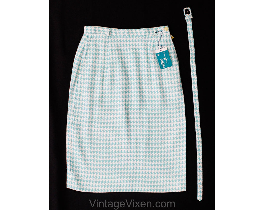 Size 000 1960s Skirt - Turquoise Blue & White Houndstooth Print Faux Linen Office Wear with Belt - Rayon Blend 60s Deadstock NWT - Waist 22