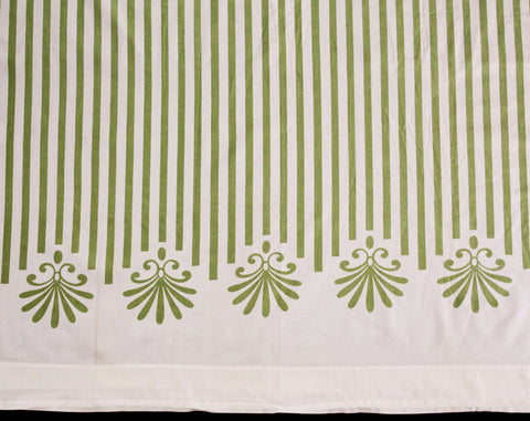 Mid Century 1960s Bed Sheet - Full Size Flat Sheet - Double Bed Linens - Olive Green White Awning Sripe - Pure Smooth 60s Cotton Percale