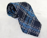 Blue Plaid Men's Tie - 1990s Navy Silk Necktie - Beautiful Quality Crepe - Sivone New York Retro 50s Inspired Label - Classic Men's Business