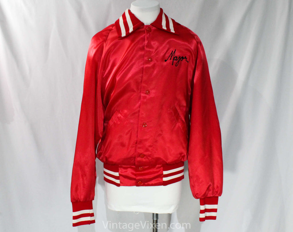 Mens Medium Red Satin Jacket - Drum & Bugle Corps Rochester Crusaders - Music Marching Band Drum Major Windbreaker - Chain Stitch - Chest 42
