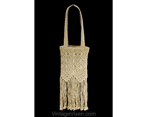 Hippie Shoulder Bag - Beige Neutral Macrame Style Purse - 1990s Does 1970s Sandy Cotton Cord with Wooden Beads and Long Fringe - Zipper Top