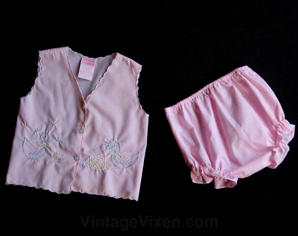 Pink Baby Outfit - Retro Top & Panty with Embroidered Ducks and Basket - Size 3 to 6 Months - Infants Summer Cotton - Bloomers - 29842-1