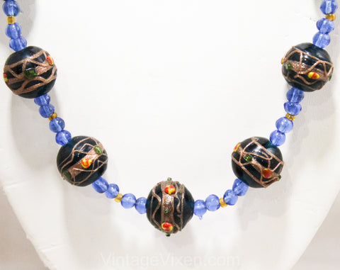 Venetian Glass Bead Necklace - 30s 40s 50s Art Glass Wedding Cake Beads - Rich Blue Emerald Green & Metallic Gold - Venice Italy Artisan