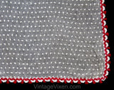 1930s Kitchen Curtain Panel - Authentic 30s White Cotton Chenille Cheesecloth with Red Tassel Fringe Trim - As Is - Quaint Country Home Chic