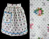 40s Peachy Fruits Print Apron - Size XS to Small - Sweet Summer Peaches - Novelty Print Cotton - 1940s 1950s House Wife - Waist to 25