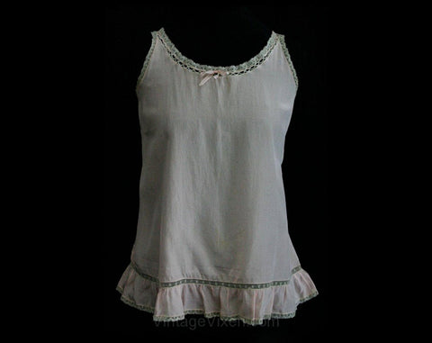 1920s Pink Crepe Toddler's Chemise with Ribbon & Lace - Size 18 24 Months - Girls Summer Slip - Childrens 20s 30s Underslip - 1930s - 26884