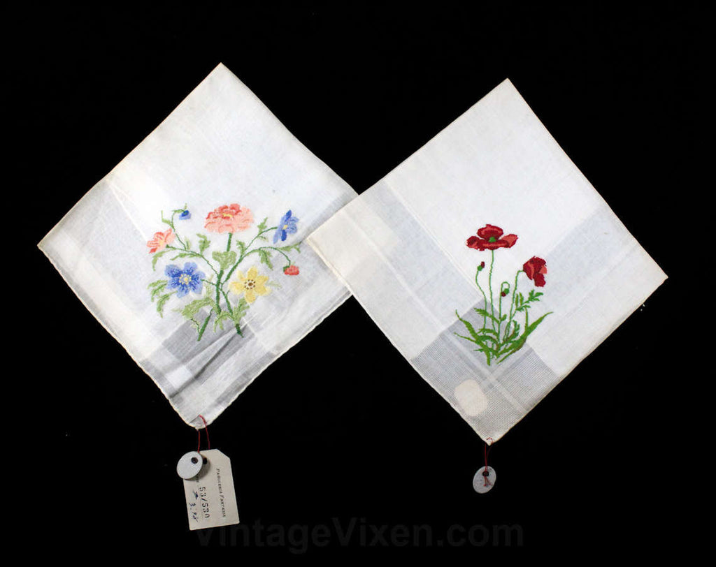 Micro Embroidered Handkerchief Pair - Super Fine Embroidery - Botanical Flowers - Mallorca Spain European Import - 2 Ladies Hankies NIB NWT