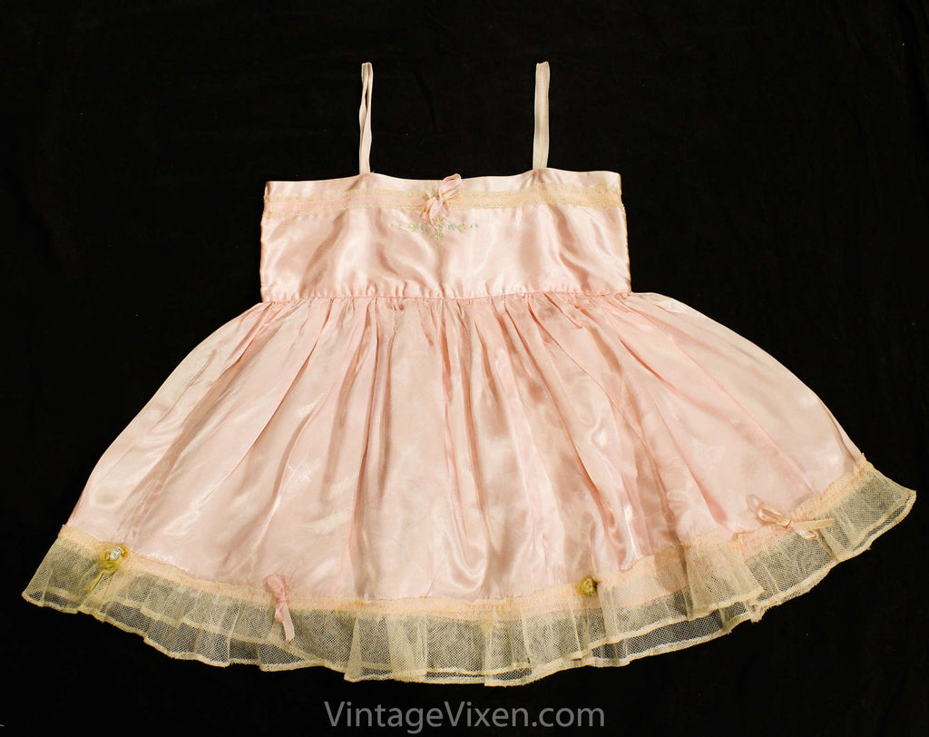Antique Pink Satin Baby Dress - Toddler's Chemise with Ribbons & Embroidery - Size 2T 18-24 Months - Girls Spring 1910s 1920s Under Dress
