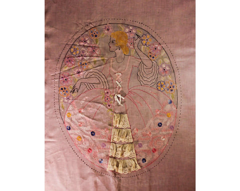 1920s Full Bedspread - Sheer Pink Flapper's Boudoir Bed Spread - Authentic 20s Double Cotton Coverlet with 18th Century Lady Cameo Portrait