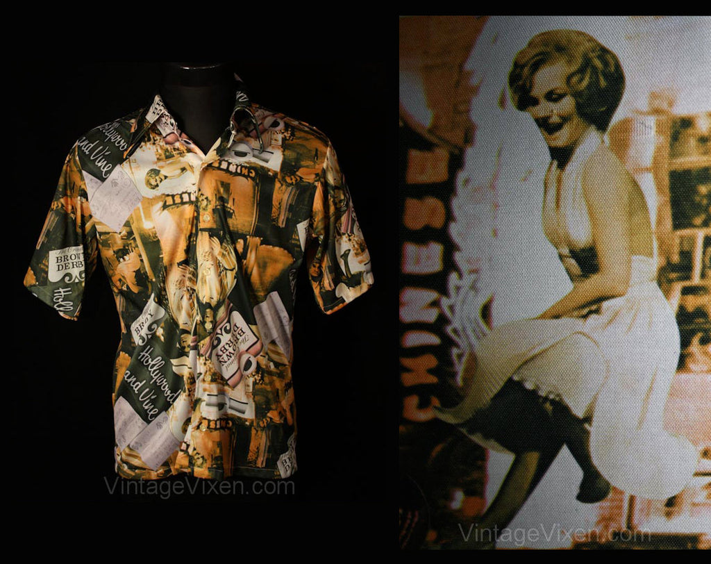 Men's Large 70s Shirt - Disco Era Hollywood & Vine 1970s Novelty Print Mens Top - Movie Stars - Carmen Miranda - Chest 44 - 34921-1