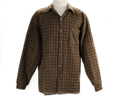 Men's Large Wool Shirt Jacket - 1950s 60s Sage Brown Tweed Men's Long Sleeve Plaid Lumberjack - Quilted Lining - Fall Winter - Chest 46