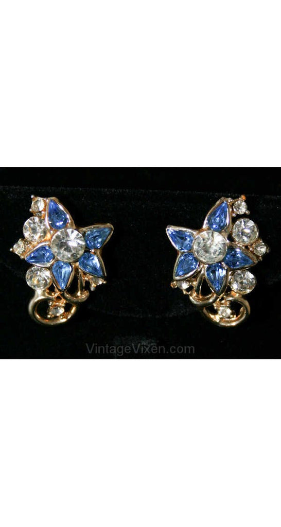 Pretty 1950s Star Flower Earrings - Spring Floral Screw Backs - Blue Rhinestones & Goldtone Metal - Screwbacks - Starry Eyed Chic - 38437-1
