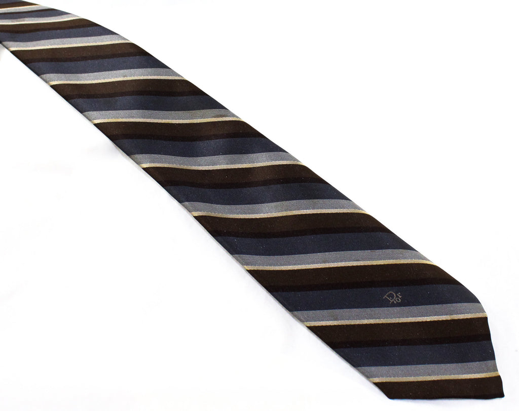 1980s Christian Dior Striped Tie - Classic Gray Brown & Ivory 80s Designer Necktie - Diagonal Satin Stripes - Paris New York - Logo Lining