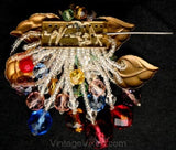 Exceptional 1930s Brooch - Fruit Salad Glass Berries Fringe & Metal Leaves - Authentic 30s Pin - Red Blue Gold Green Lavender Beads 32980