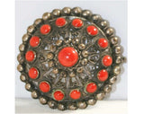 Ornate Silver Filigree & Carnelian Dome Brooch - Made In Italy - Antique Ancient Greek Style Pin - 1940s Deadstock - Coral Orange - 40218