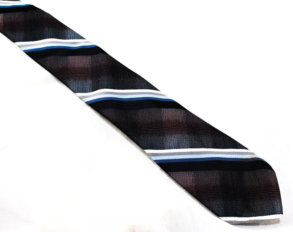 1980s Designer Tie - Handsome Aubergine Blue & Black Tie by Don Loper - Beverly Hills Preppy Classic - Diagonal Stripes - Ombre 80s Brocade