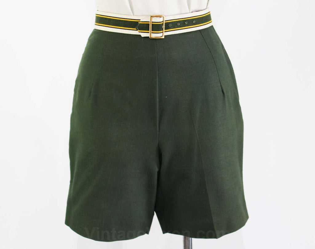 Size 0 Shorts - 1950s Sage Green Cotton Short - XXS 50s Tailored Summer Separates - Original Preppy Striped Belt - NWT Deadstock - Waist 23