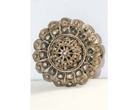 Silver Studded Filigree Dome Brooch - Made In Italy 40s Fine Silver Brooch - 1940s Classic Italian Pin with Tag - Deadstock - NWT 40220-1