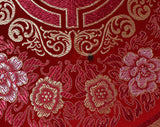 Chinese Silk Satin Wall Hanging - Vivid Scarlet Red & Pale Gold - Cranes Medallion Border Pattern Brocade From China - 57.5 x 81 Inches