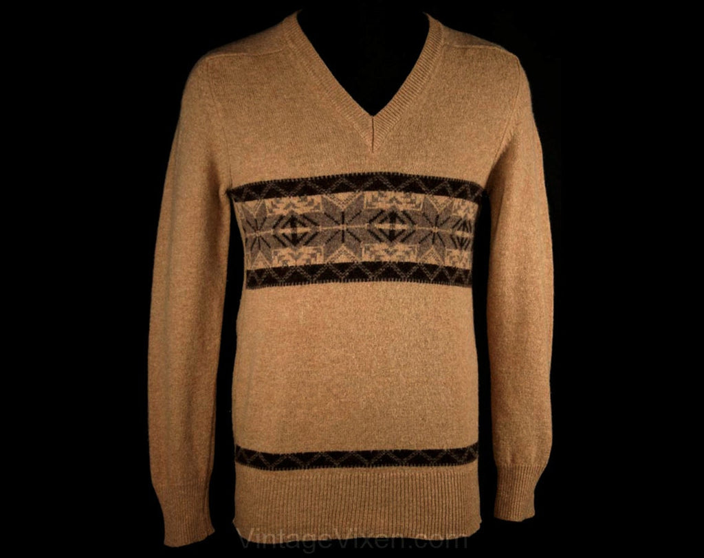 Men's Small Ski Sweater - 60s Camel Tan & Gray Lambswool 1960s Mens V Neck Pullover - Beige Fair Isle Pattern - XS - Chest 36 - 33810-1