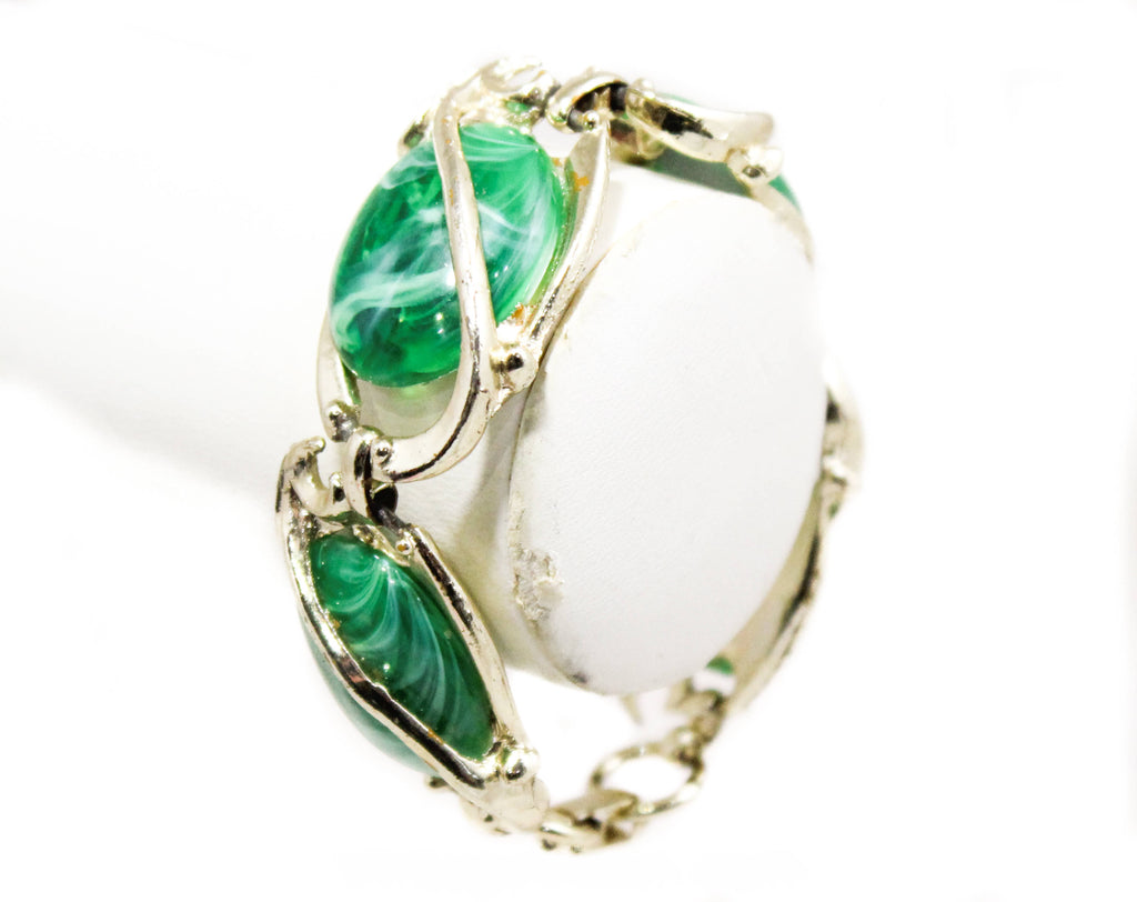 Emerald Green Ovals Bracelet - Lyrical Gold Hued Metal - 1960s Marbleized Plastic - Art Nouveau Antique Look - Goldtone Flourishes - 50405