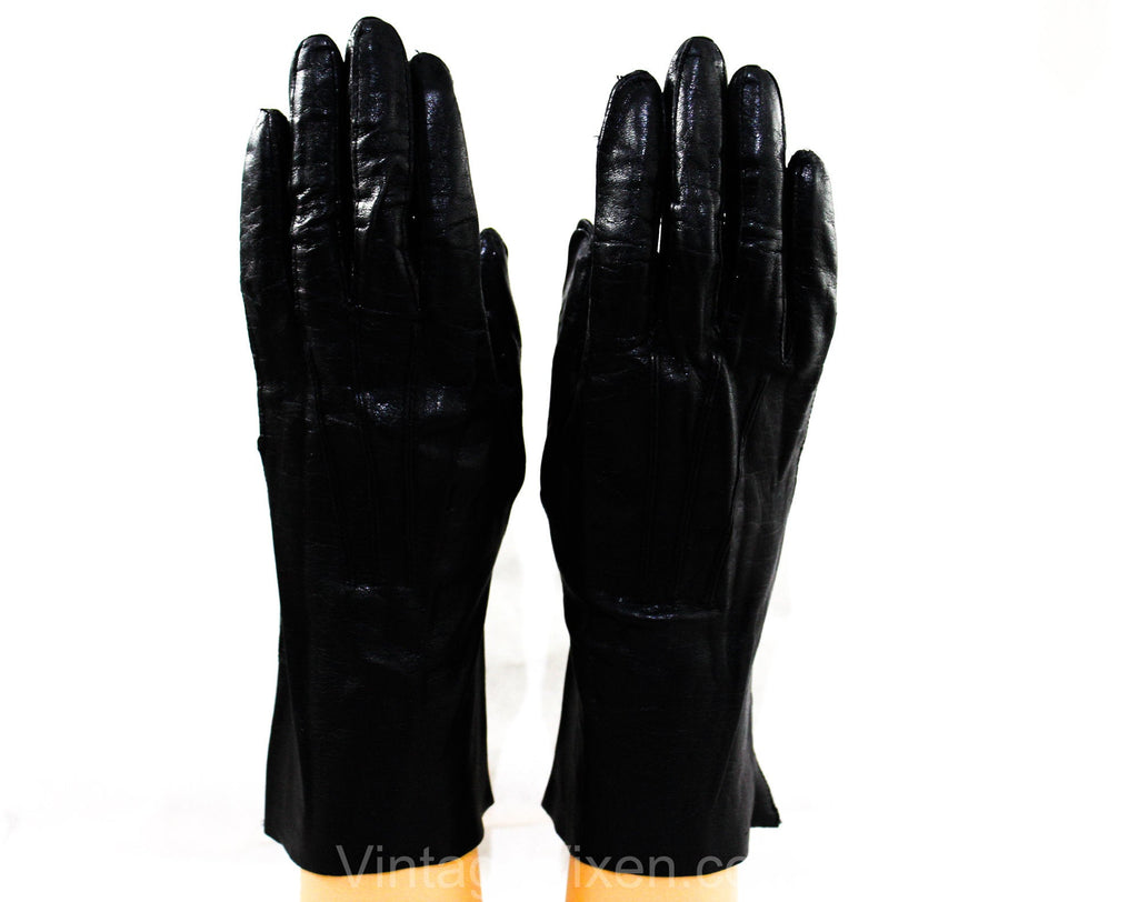 Black Leather Gloves - Size 7 Antique Style Wrist Length Gloves - Pair 1950s Gloves - 50's Classic Ladies Accessories - Stitched Points