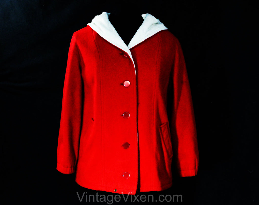 Large 1960s Red Coat with Hood - Size 12 to 14 Winter Wool Hooded Overcoat - Red Buttons & Waist Pockets - Contrast Cream Lining - Bust 40.5