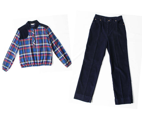 1970s Big E Levi's Western Shirt & Corduroy Pant Set - Ladies Size 8 Cowgirl Hunter Style Plaid Top - Navy Blue Red and White - Waist 27.5