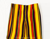 Child's Size 8 1960s Pants - Girls Mod Circus Stripes Wide Leg Trousers - Yellow Red Navy Blue 60s Children's Bell Bottoms - Waist 23