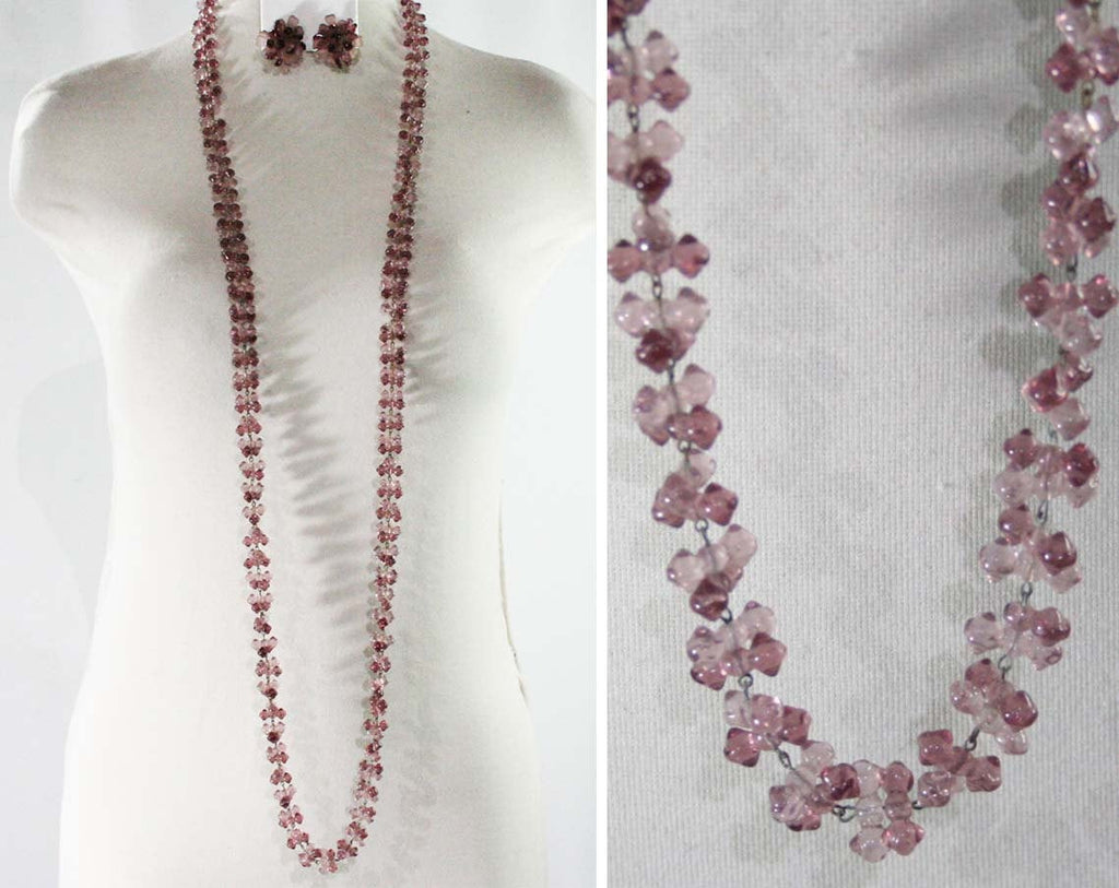 Flapper Style Lavender Lilac Glass Necklace & Earrings - 1920s 1930s Look Demi Parure - Light Purple - Flower Petal Clip Earrings - Made 50s