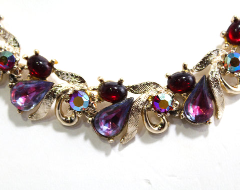 Ruby & Pink Rhinestones Necklace - 50s Glamour - Two Tone Violet - 1950s Pageant Style Formal Jewelry - Evening Necklace by Art - 50460