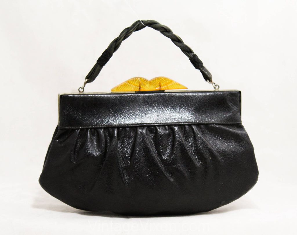 1930s Art Deco Purse - Authentic 30s Black Faux Leather Bag with Carved Amber Plastic Clasp - Rare Depression Era Handbag - As Is - 50239