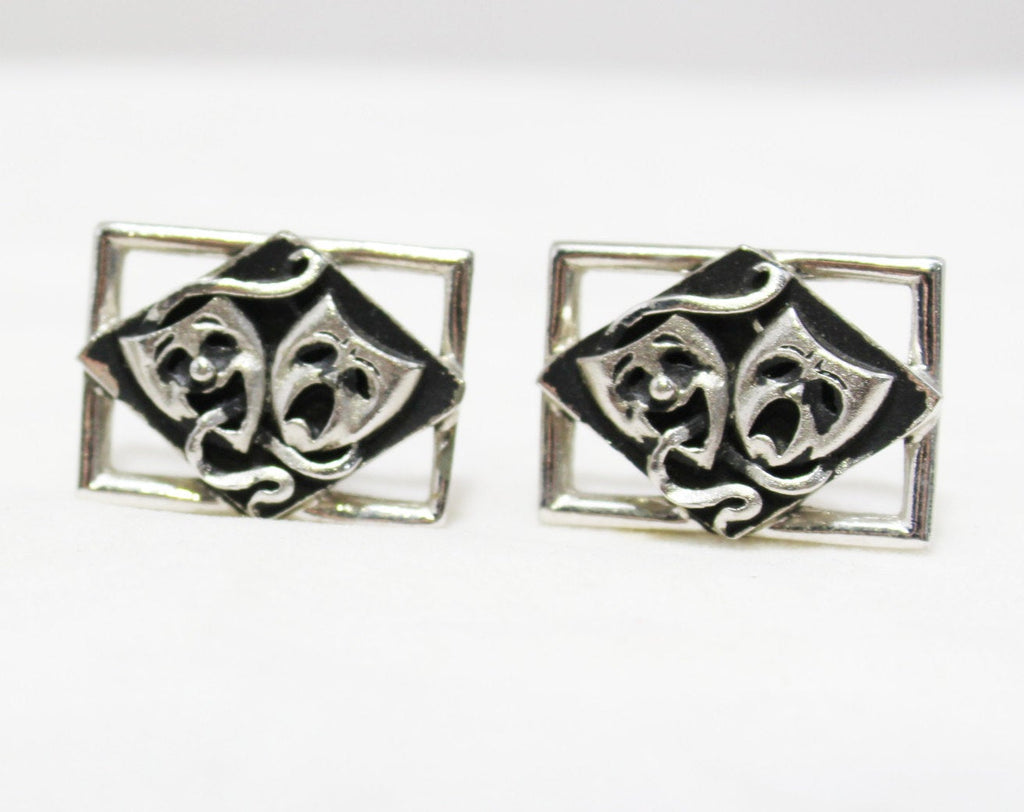 1950s Cuff Links & Tie Bar Set - Drama Novelty Theme 50s 60s Cufflinks - Greek Comedy and Tragedy Masks - Mens Jewelry Theater Teacher Gift