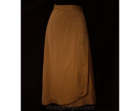Size 8 1940s Gabardine Skirt - Beautiful Cocoa Brown Wool Gab 40s Deadstock Wrap Style - WWII Era with Metal Studs & Satin Grapes - Waist 27