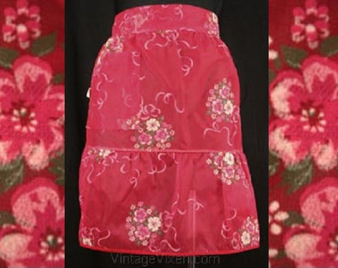 FINAL SALE Strawberry Red Sheer Apron with Flocked Bouquets - 1950s Half Apron - Summer 50s Deadstock - See Through - Mint Condition
