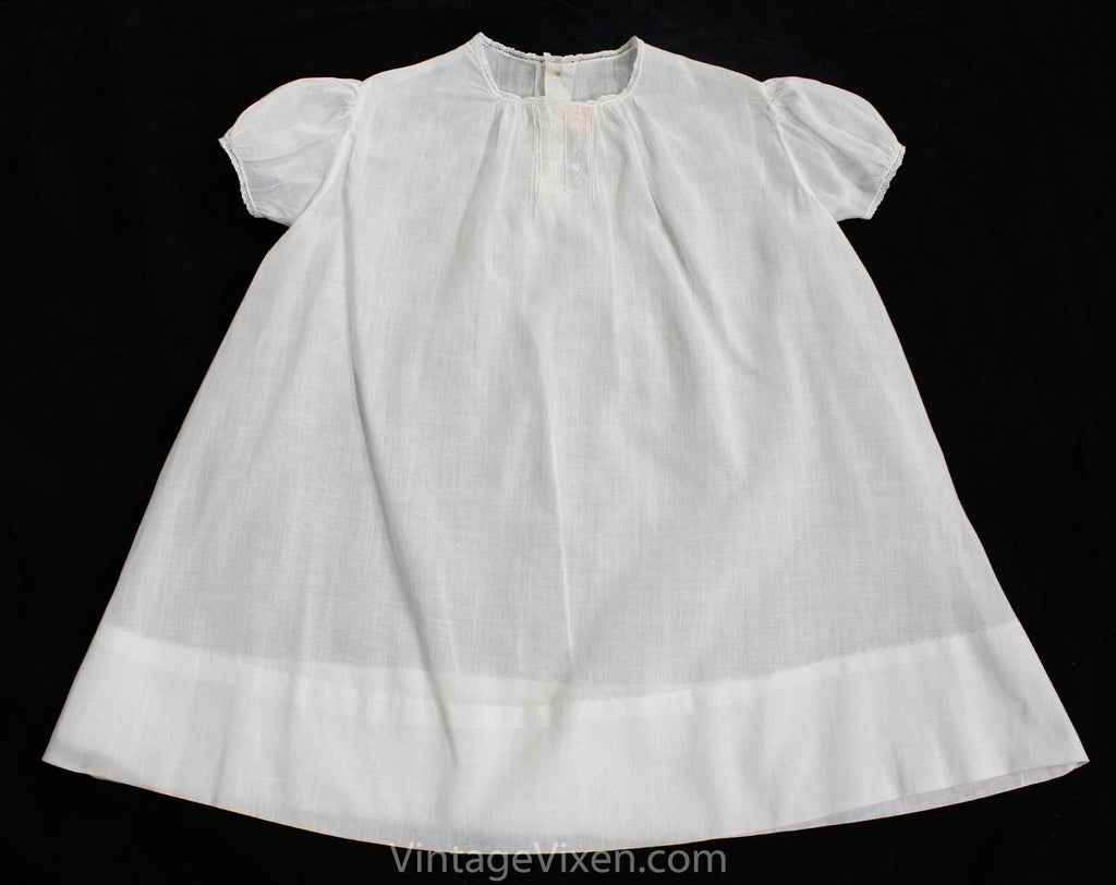 1920s White Batiste Baby Dress with Dainty Embroidery & Tucks - Size 6 to 9 Months Infants Frock - Childrens Authentic 20s Antique Cotton