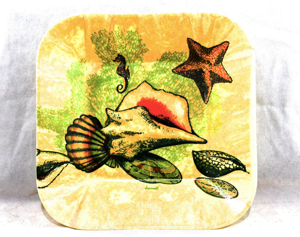 Seahorse Coral Starfish Seashells Tray - Beach Cottage 1960s 70s Sea Shell Novelty Print Decorator Dish - Molded Green Burnt Orange Plastic