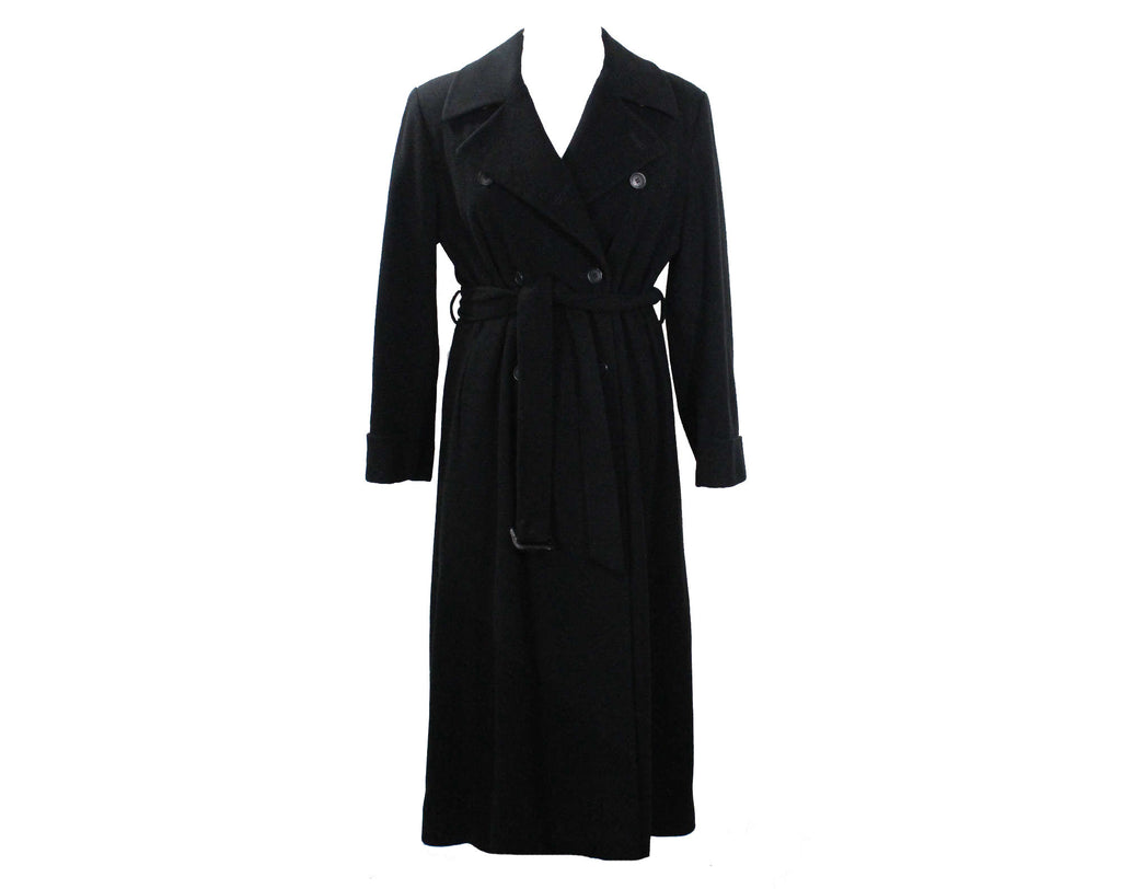 Large Calvin Klein Black Trench Coat - Size 14 1980s Designer Cashmere Blend Luxury Coat with Belt - Classic Fall Winter Overcoat - Bust 43